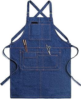 DHRH DHRH Küche Kochschürze  Schürze mit Taschen für Männer Frauen, Koch, Kellner, Künstler, Arbeitsschürzen für Grill Restaurant Bar Shop Schürze, Marineblau