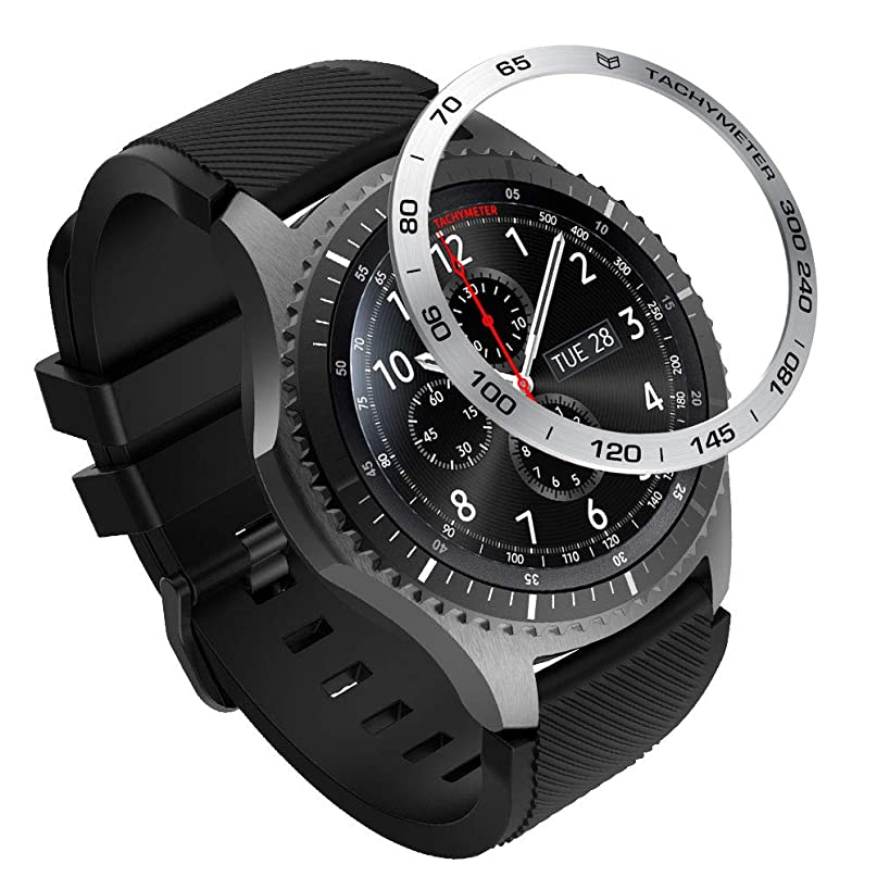 今までストロークお願いしますATiC Samsung Gear S3/Galaxy Watch 46mm ベゼルリング Galaxy Watch ベゼルカバー 保護ケース スタイルリング 高級 ステンレス製 耐衝撃 超簿 粘着式 取付簡単 スマートウォッチ飾り Silver(black)