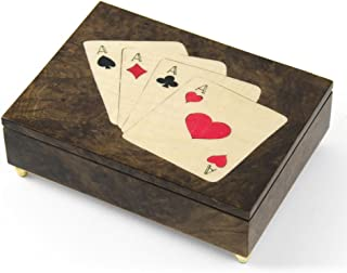 Handcrafted Italian Poker Theme Inlay of 4 of a Kind ACES Music Box - Over 400