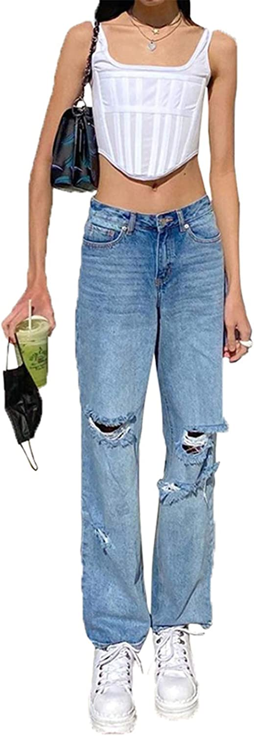 Women's Ripped Boyfriends Jeans High Waist Wide Leg Denim Pants Vintage Loose Distressed Straight Jeans with Pockets