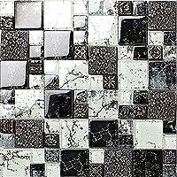 高級感 ガラスレジンmix! レジンモザイクタイル インテリアタイル クラシック壁のアート 1シート(300*300*8mm)壁、浴室・カウンター キッチン・台所・洗面台 のDIYリフォームにお勧め(LSRN10)  (1シート(300*300*8mm))