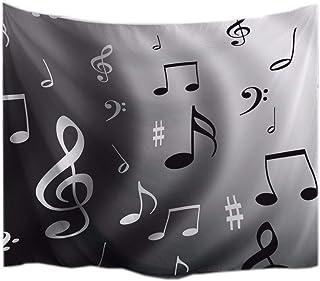 A.Monamour Fondo Gris Negro Musical Melodía Imprimir Amante De La Música Tema Tela Textil Decoración De Pared Pared Colgando Tapices para Niños Niños Niñas Dormitorio 153X102Cm / 60