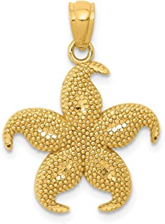 14k Yellow Gold Beaded Starfish Pendant Charm Necklace Sea Life Man Fine Jewelry Gift For Dad Mens For Him