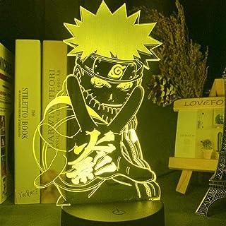Luz nocturna 3D para niños, diseño de anime japonés, figura de Naruto para habitación infantil, luz nocturna, mejor regalo de cumpleaños, noche de 16 colores, con mando a distancia, 16 colores