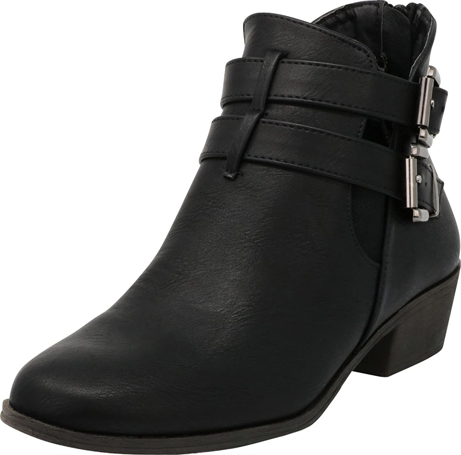 Cambridge Select Women's Double Buckled Strap Closed Toe Side Cutout Chunky Low Heel Ankle Bootie