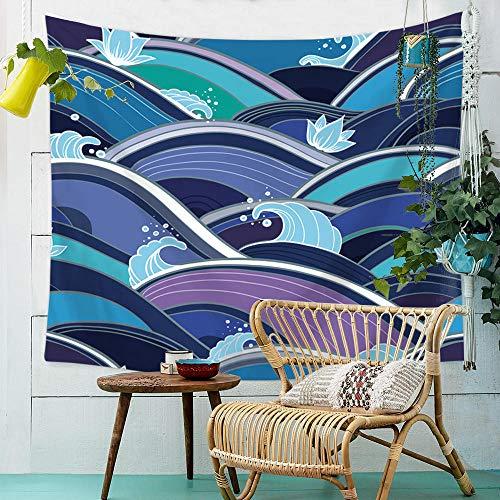 YASHUO Onda de mar Tapiz de Rayas Impresas Tapiz de Pared Tapiz Azul Grande Decoración de Tela Manta Alfombra de Yoga Alfombras Mantas Playa,TT2,El 150x230cm
