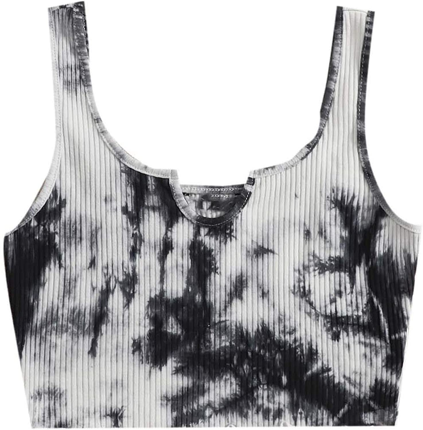 SOLY HUX Women's Casual Notched Neck Sleeveless Tie Dye Ribbed Knit Crop Tank Top Black White