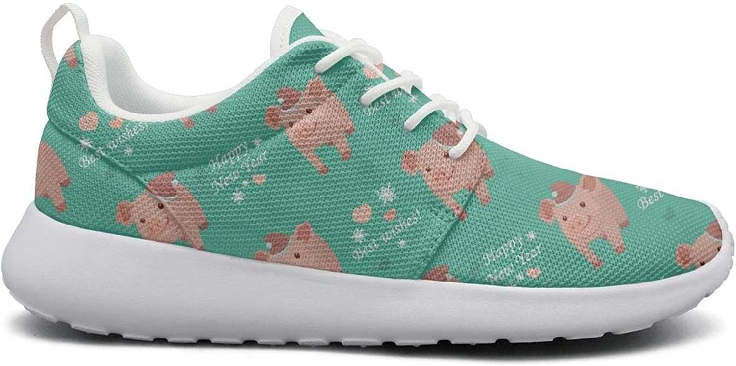 Gjsonmv Happy New Year 2019 Pig Poster mesh Lightweight shoes for Women Summer Sports Driving Sneakers shoes