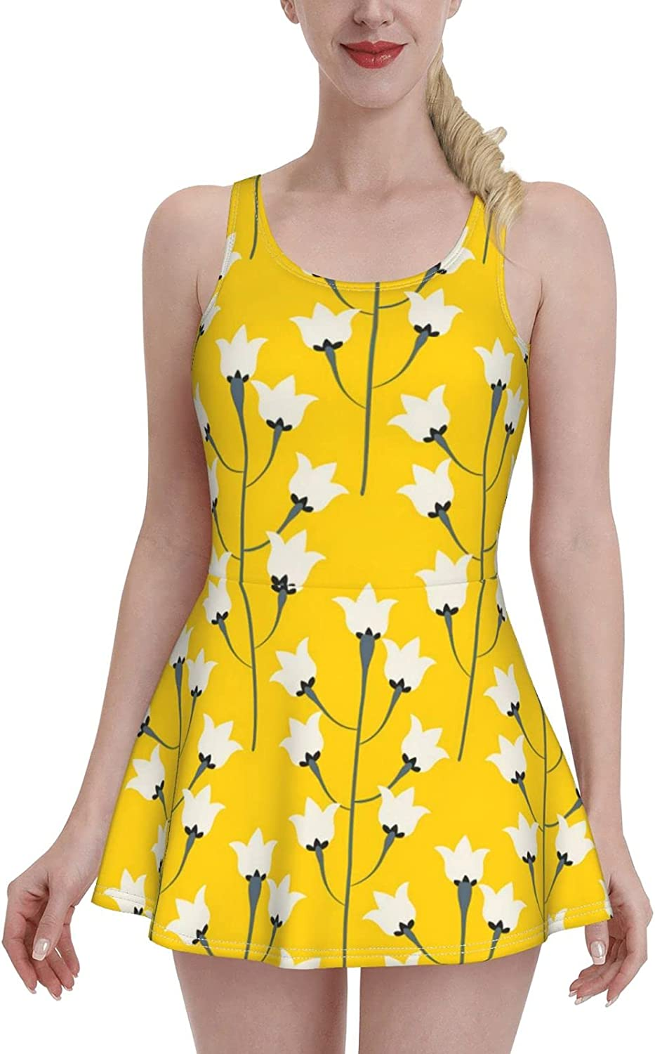 Neat Flowers Ladies Ruffled One-Piece Atlanta Inexpensive Mall Adjustable with Swimsuit S