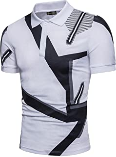 Sportides Mens Slim Fit Casual Denim Stitching Pocket Polo Shirt Short Sleeve T-Shirt Tops JZA008