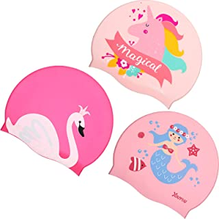 Syhood 3 Pieces Kids Swim Caps Baby Waterproof Bathing Caps Children Cartoon Swimming Hat for Long and Short Hair Kids Boy...