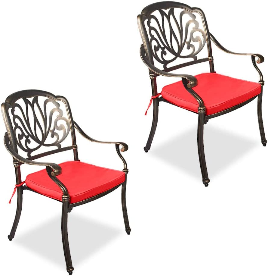 OKIDA 2 Piece Excellent Outdoor Dining Chairs Cast with Ranking TOP4 Aluminum C