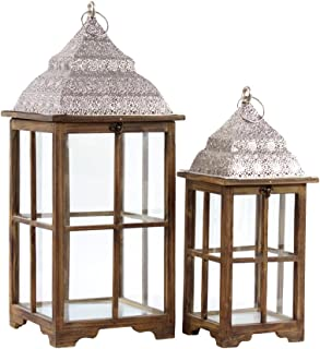 Urban Trends 40186 Wood Lantern Natural Wood Finish Brown 25Wood Square Lantern with Pierced Metal Top, Metal Ring Handle & Glass Sides Set of Two Natural Wood Finish Sienna Brown