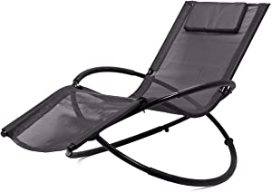 Asher Amada Patio Garden Lounger Rocking Relax Outdoor Gray Folding Orbit Zero Gravity Chair