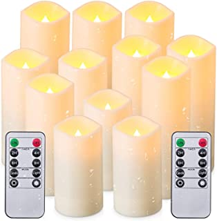 """Flameless Candles, Led Candles Set of 12(D 2.1"""" X H 4"""" 5"""" 6"""" 7"""") Resin Candles with Remote Timer Waterproof Outdoor Indoor..."""