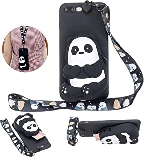 Girlyard for iPhone 7 Plus Silicone Case with 3D Cartoon Animal Zipper Wallet Purse Stand Holder Back Cover and Long Detachable Lanyard Strap Phone Case for iPhone 8 Plus 5.5 inch,Panda