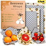 Beeswax Wraps Assorted 4 Pack, Eco Friendly Reusable Food Wraps, Organic Alternative To Plastic, Biodegradable, Washable, Sustainable