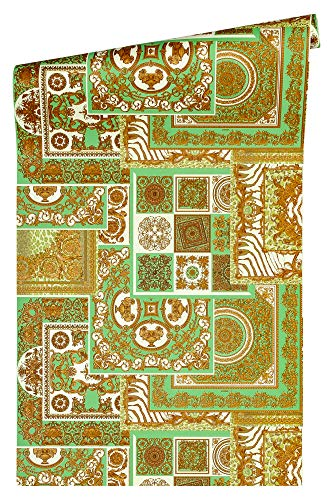 Versace wallpaper Vliestapete Decoupage Luxustapete mit Ornamenten barock 10,05 m x 0,70 m metallic creme grün Made in Germany 370482 37048-2