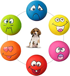 HDSX Squeaky Pet Toys for Cat Dog Teeth Squeaker Ball Puppy Squeaky Sound Face Fetch Play Toy 6 Pcs/Set