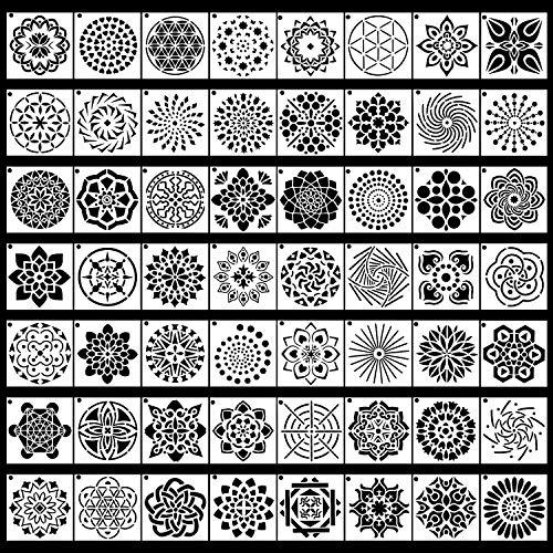 56 Pack Mandala Stip Sjablonen sjablonen Stencils Perfect voor DIY Rock Schilderen Kunst Projecten 3.6X3.6 Inch 9X9 cm