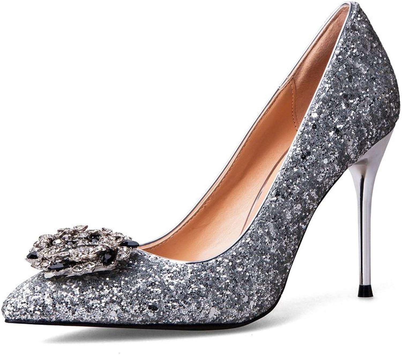 AdeeSu Womens Rhinestones Spikes Stilettos Low-Cut Uppers Sequin Pumps shoes