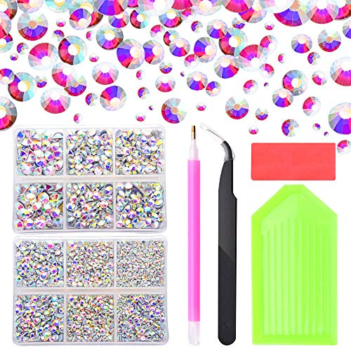 5100pcs Crystal AB Hot Fix Rhinestones, 2mm/3mm/3.2mm/4mm/5mm/6mm Mixed Large Rhinestones for Crafts Clothes Shoes, Flatback Hotfix Glass Gems Stones with Containers Box/Tweezers/Picker Dotting Pen