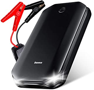 Portable Car Battery Charger Jump Starter, Baseus 800A Peak Auto Jump Box (Up to 4L Gas or 2.5L Diesel Engine), 12V Power Pack Jumper Start & Phone Charger with USB Port, Cables & LED Flashlight