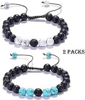 2 Packs Lava Stone Diffuser Bracelet General Lava Rocks Bracelet Howlite Bracelet Turquoise Bracelet Clam Down Adjustable Diffuser Bracelet Confidence Relief Stress Lava Bracelet