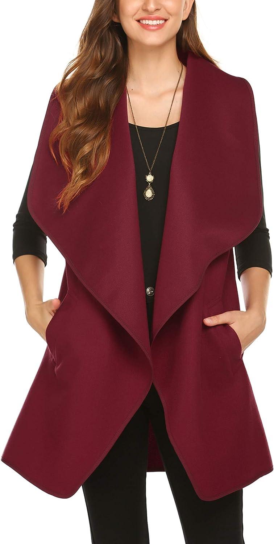 Beyove Damen Weste Jacke Casual Revers Vorne Offene Mantel Ärmellos Outwear Coat Tanktops mit Taschen Herbst Winter Weinrot