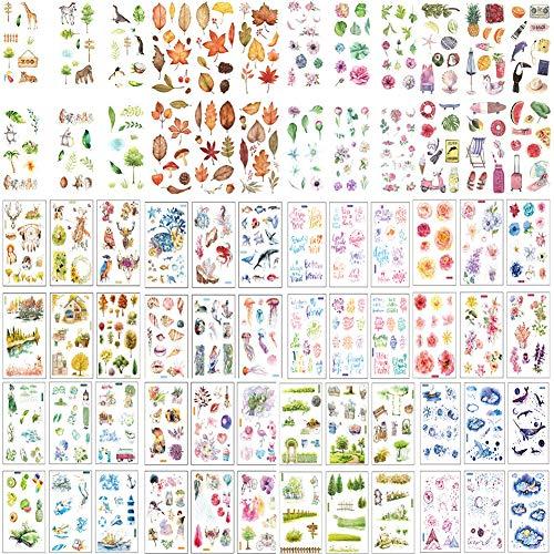 72 Blatt Scrapbooking Sticker Pflanzen Blumen Sticker Set Muster Meer Tierform Deko Sticker Blumen Blätter Aufkleber für Kalender Notizbuch Tagebuch Fotoalbum DIY Dekoration Fotoalben