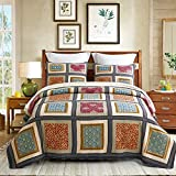 DECMAY 3 Piece Boho Real Patchwork 100% Cotton Bedspread Queen Size Vintage Plaid Floral Daybed Bedding Sets Light Weight Reversible Quilt Luxury Matelasse Bed Coverlet Set with Shams