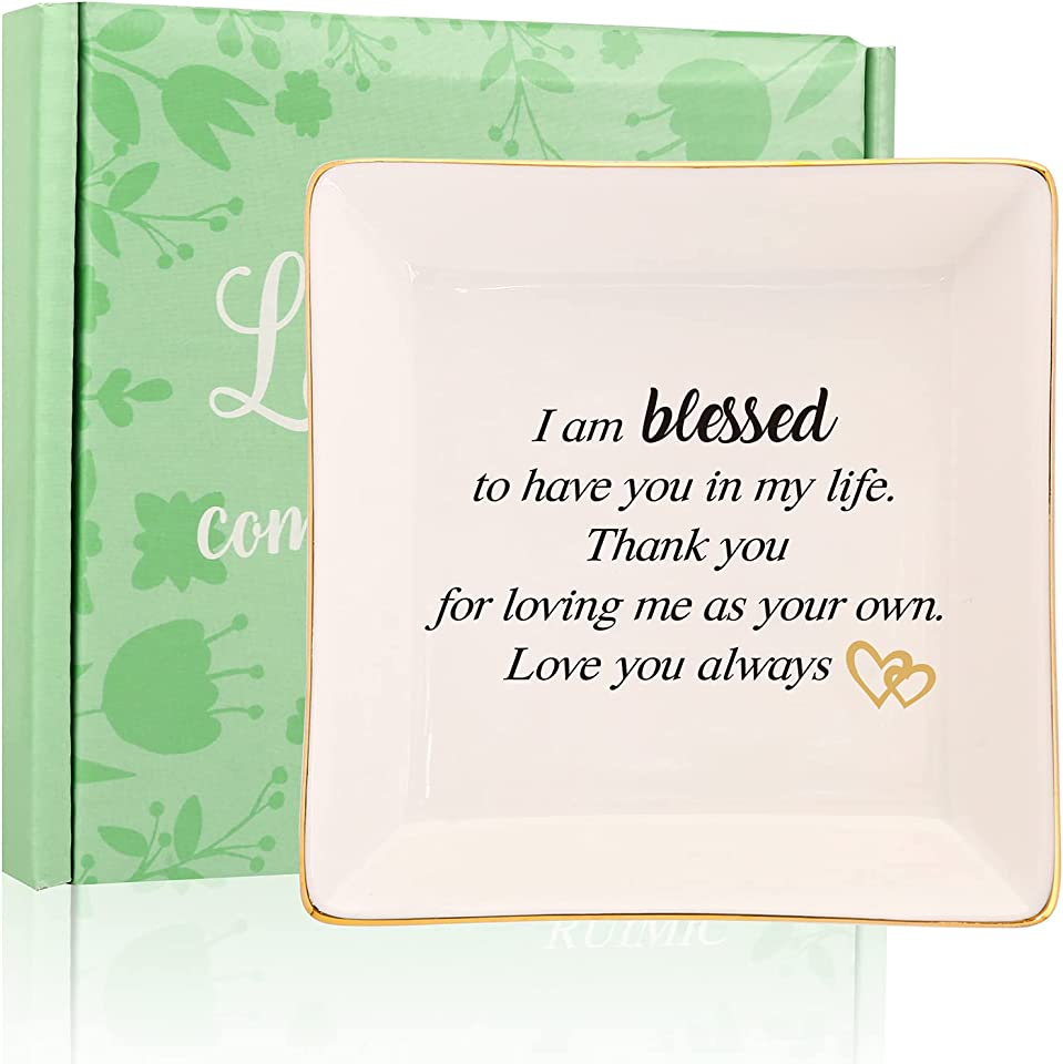 RUIMIC Mothers Day Birthday Gifts for StepMom Bonus Mom,Mother in Law Gift-Ceramic Ring Dish, Jewelry Tray, I am Blessed to Have You in My Life,Thank You for Loving Me as You Own