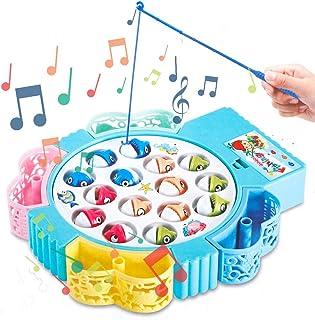 HCHENG Juego de Pesca de Mesa Juguete Musical Educativo Peces Rotativos Coloridos Juguetes Eléctricos para Niños Niñas 3 4...