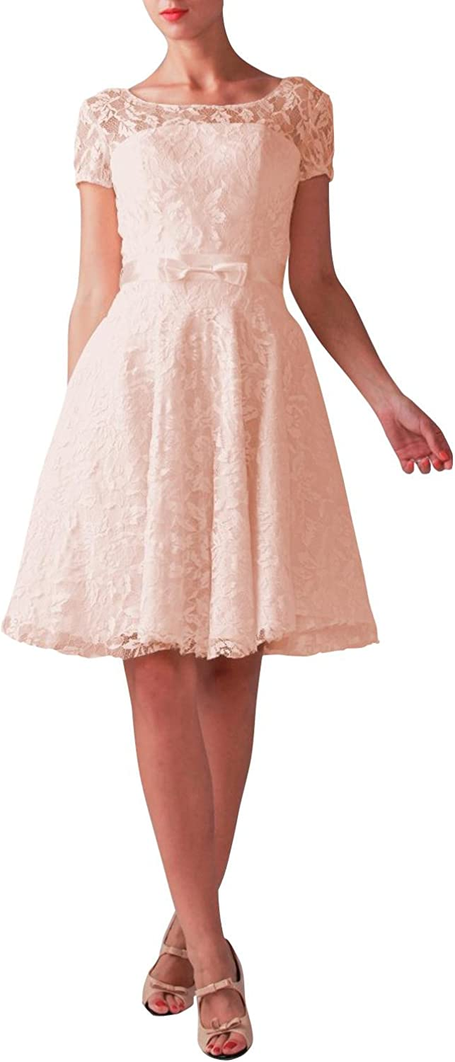 ORIENT BRIDE Sweet Lace Kneelength Graduation Homecoming Dresses with Sleeves