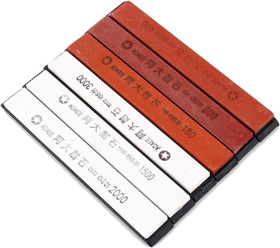 6 Unids / set Piedras de afilar de piedra de afilar Establecer grano 180 # 400 # 800 # 1500 # 2000 # 3000 # para la cocina Cortar la muela Pulir Afilador Abridor Kit de herramientas