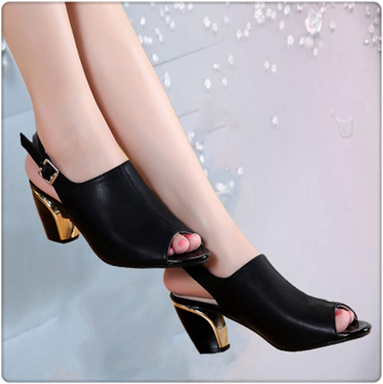Yyixianma High Heels Sandals Women Leather Peep Toe Fashion Sandals Ladies Ankle-Strap Square Heels Cool Sandals AA20608 Black 4.5