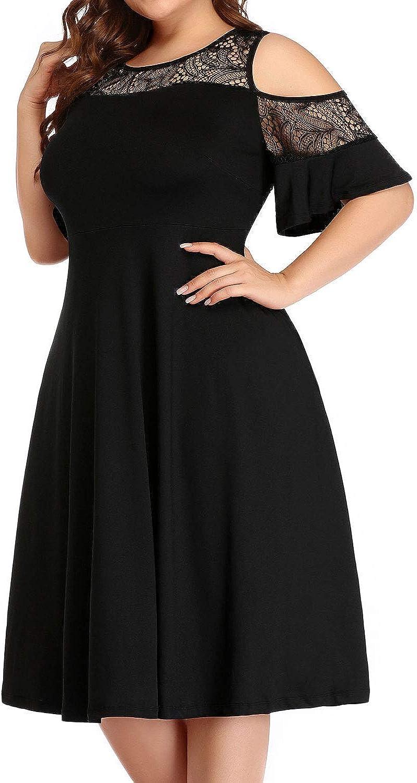 Pinup Fashion Women's Plus Size Cold Shoulder Dresses Elegant Mesh Neck Cocktail Casual Dress with Pockets