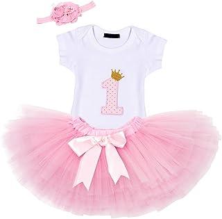 AmzBarley Baby Mädchen Kleider 1. Geburtstag Party Baby Outfit 3 Stück Outfits mit Strampler  Tutu Kleid  Stirnband