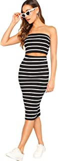 SheIn Women's 2 Pieces Striped Crop Bandeau Top and Split Skirt Cotton Set
