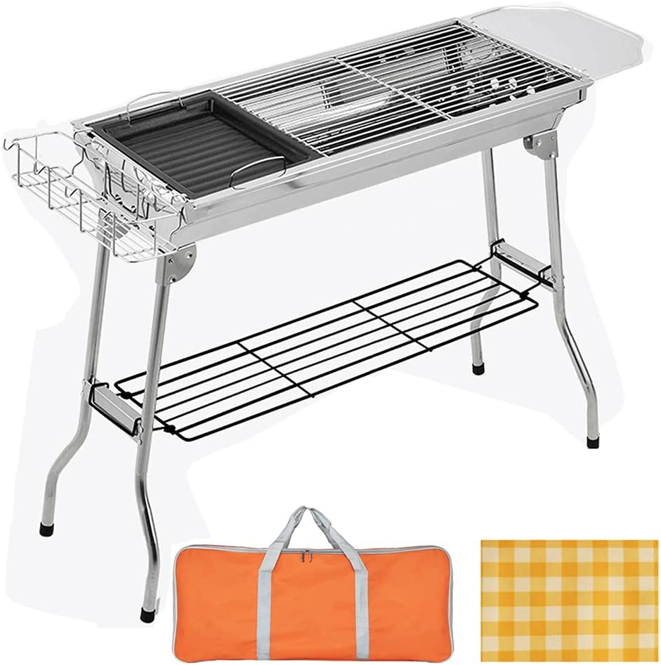 Charcoal Grill 55% OFF Portable Folding Stainless BBQ Tool Su Steel OFFicial Kits