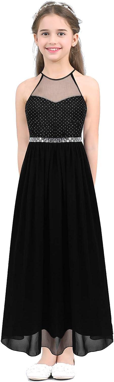 ACSUSS Kids Girls Elegant Halter Sweetheart Wedding Bridesmaid Flower Dress Rhinestone Formal Maxi Long Dress