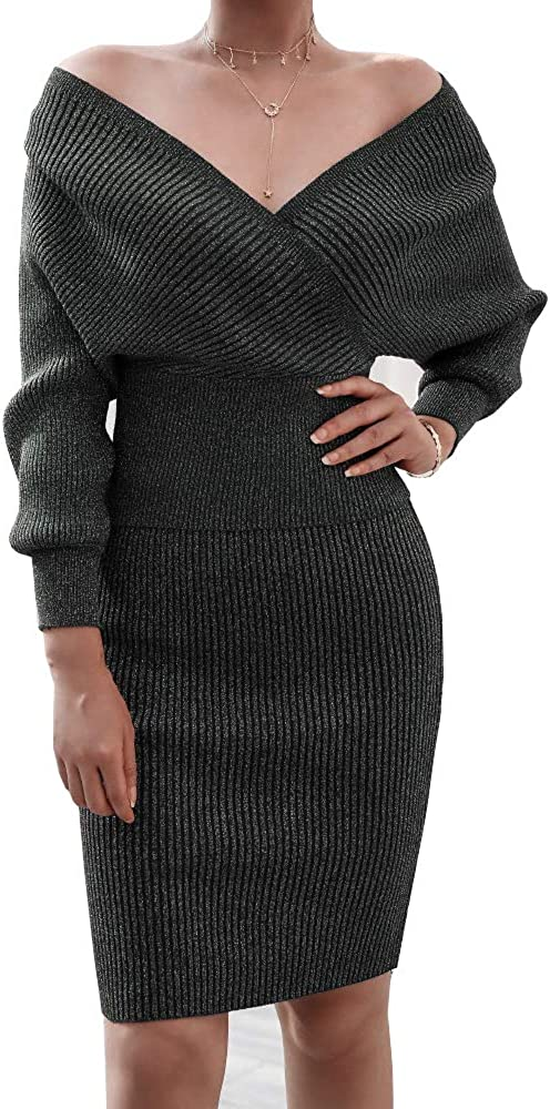 AOMEI Women's 2 Piece Sets V Neck Sweater Top and Pencil Skirt Casual Knitted Suit
