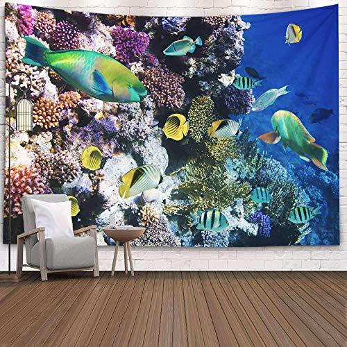 N\A Tapiz de Pared, tapices Deacutecor para Sala de Estar para el hogar de Printed for Coral Reef of Tropical Fish on a, Azul Gris