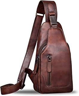 کوله پشتی چرمی شانه مردانه Crossbody Hiking Backpack Vintage Handmade Daypack
