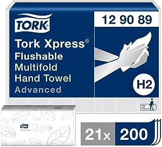 Tork Xpress Essuie-mains interfoliés à dissolution rapide 129089 Papiers d'essuyage pliés en Z, qualité Advanced, pour Dis...