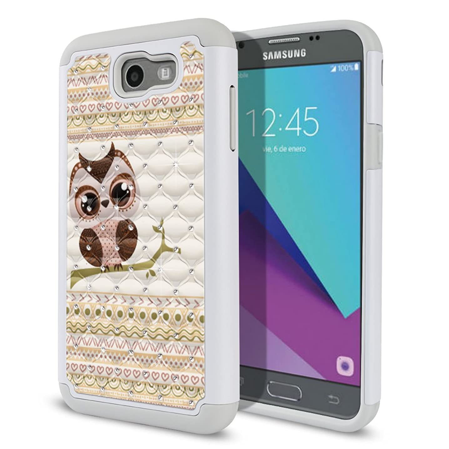 FINCIBO Case Compatible with Samsung Galaxy J7 2017 Sky Pro, Dual Layer Shock Proof Hybrid Protector Case Cover TPU Rhinestone Bling for Galaxy J7 2017 Sky Pro (NOT FIT J7 2016) - Aztec Baby Owl