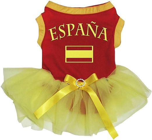 Petitebelle Vestido de tutú con Bandera de Espana, diseño de Cachorro, Color Rojo y Amarillo: Amazon.es: Productos para mascotas