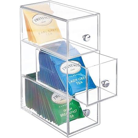mDesign rangement de cuisine à 3 tiroirs – boîte à tiroirs en plastique idéale comme rangement à thé – boîte de rangement compacte pour édulcorant, sucre, café, sel, etc. – transparent