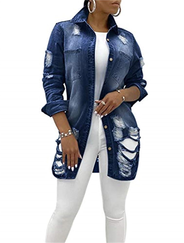 Jean Jacket Women Ripped Denim Jacket Distressed Fray Hem Tassels Denim Jackets Coat Trucker Jackets (Large,Navy Blue)