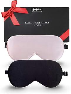 Silk Sleep Mask, 2 Pack 100% Real Natural Pure Silk Eye Mask with Adjustable Strap, Eye Mask for Sleeping, BeeVines Eye Sl...